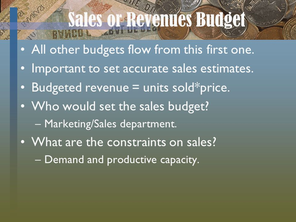 Sales or Revenues Budget