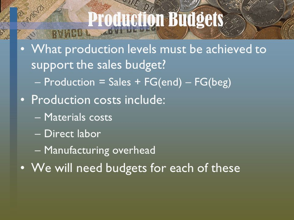 Production Budgets What production levels must be achieved to support the sales budget Production = Sales + FG(end) – FG(beg)