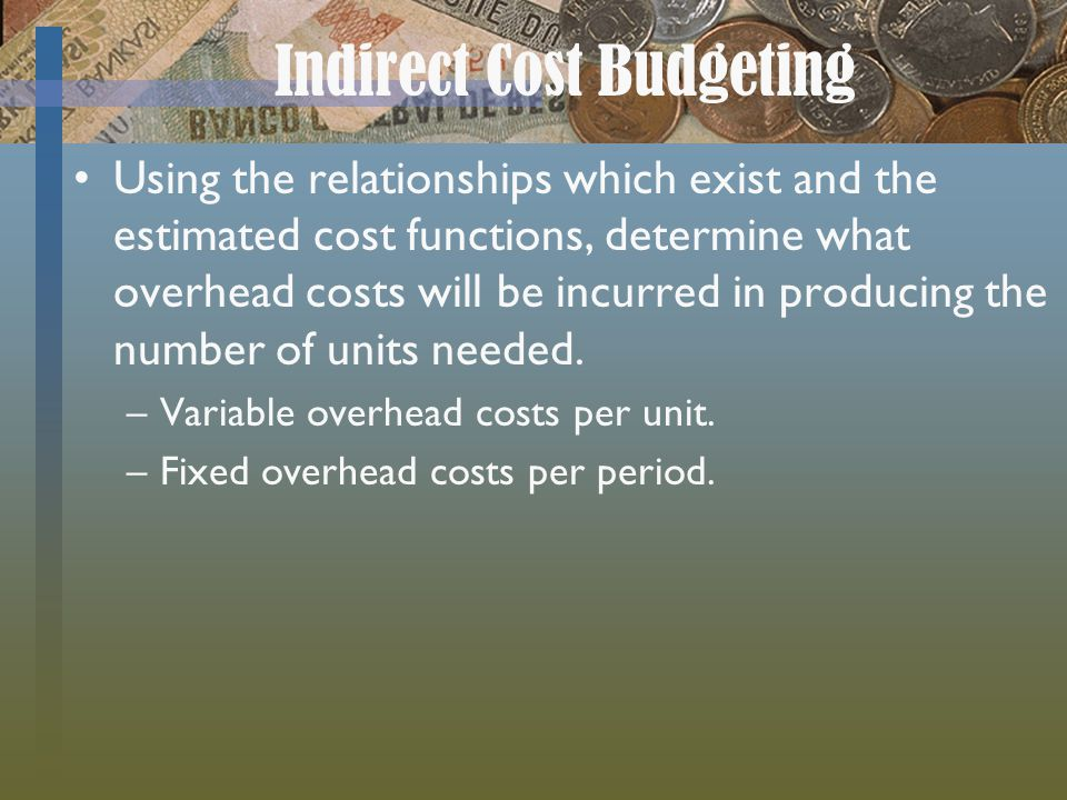 Indirect Cost Budgeting