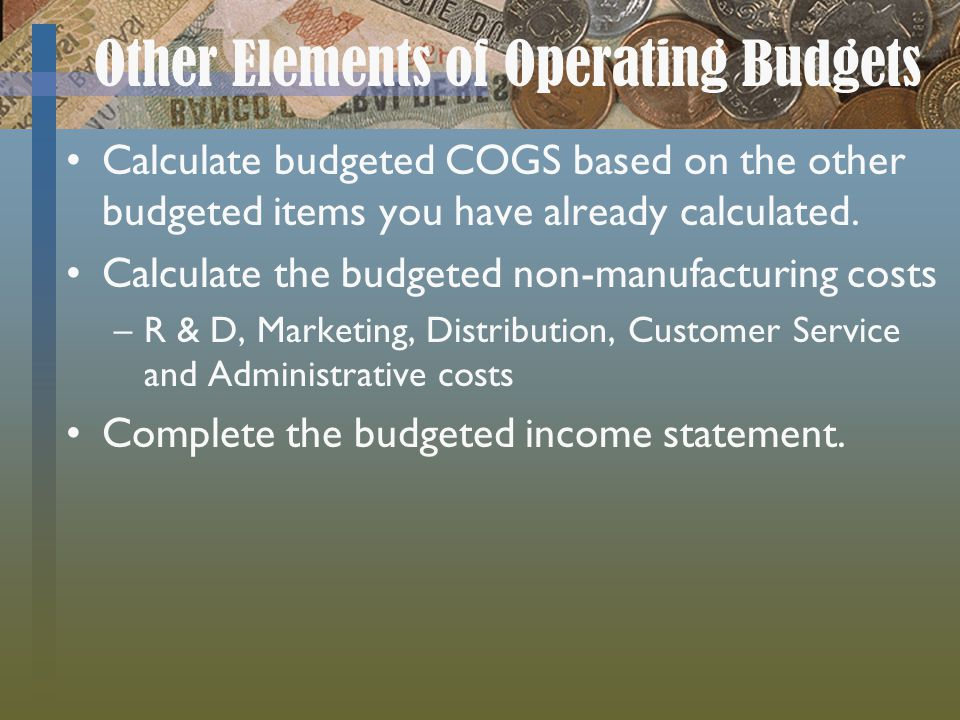 Other Elements of Operating Budgets