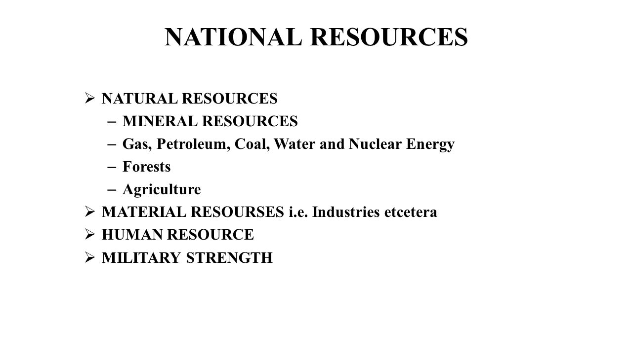 NATIONAL RESOURCES NATURAL RESOURCES MINERAL RESOURCES