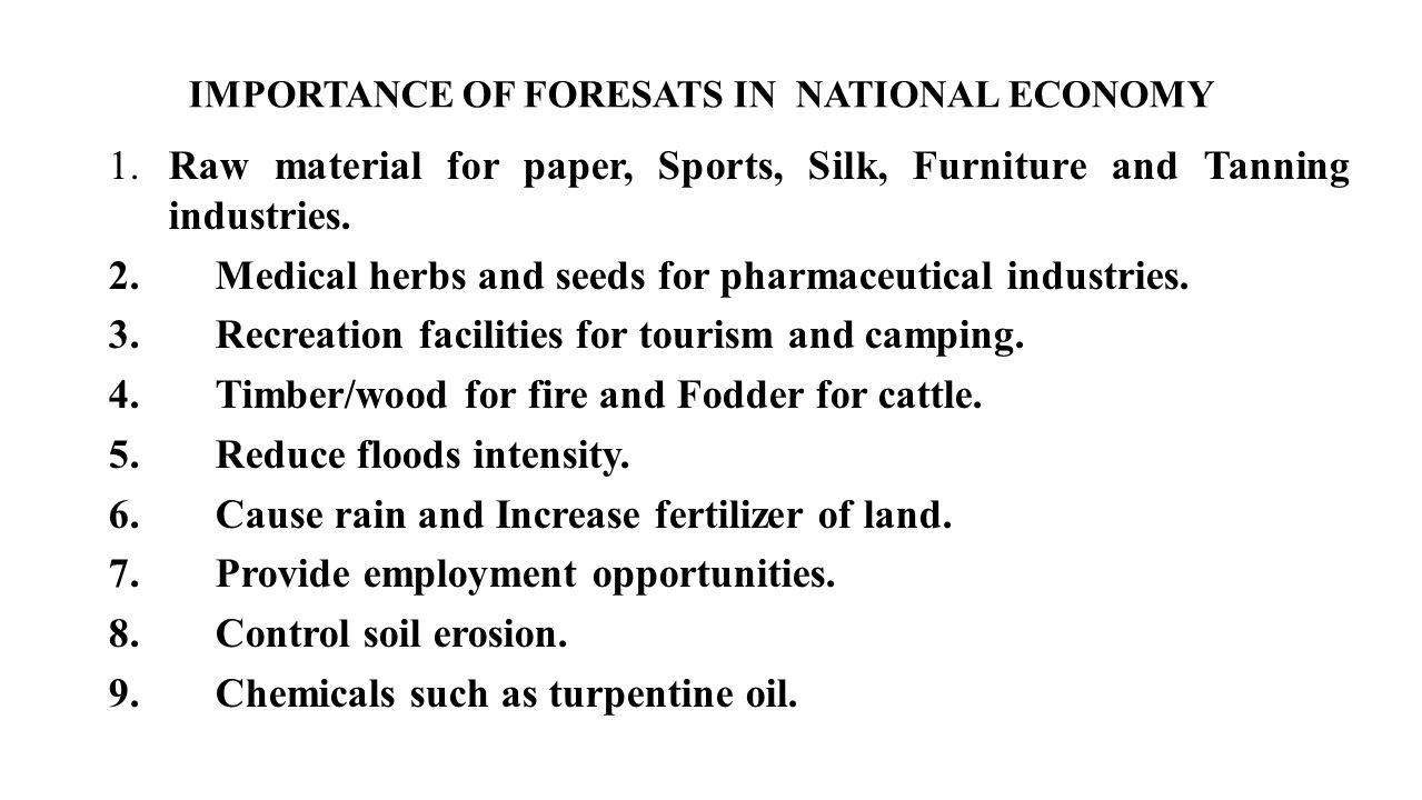 IMPORTANCE OF FORESATS IN NATIONAL ECONOMY