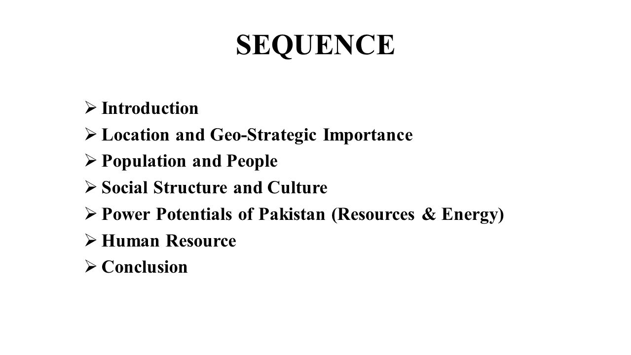 SEQUENCE Introduction Location and Geo-Strategic Importance