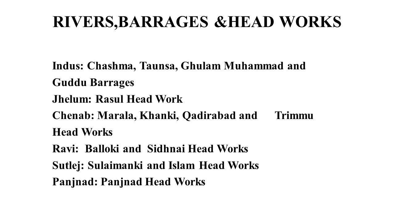 RIVERS,BARRAGES &HEAD WORKS