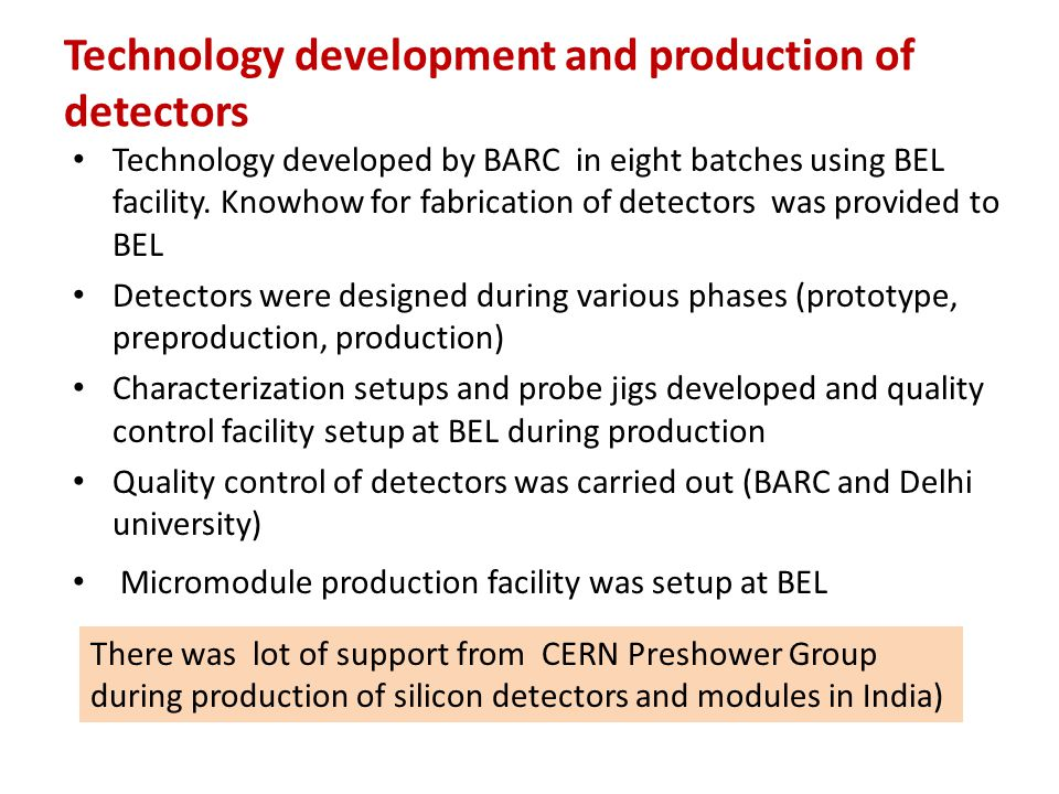 Technology development and production of detectors
