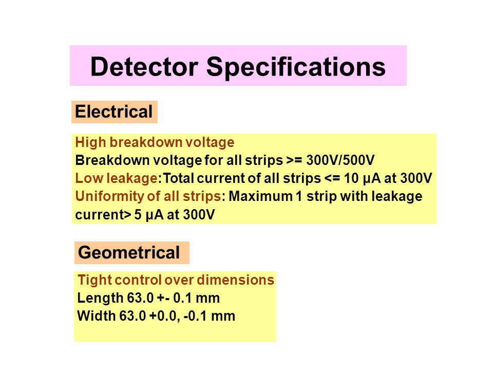 Detector Specifications