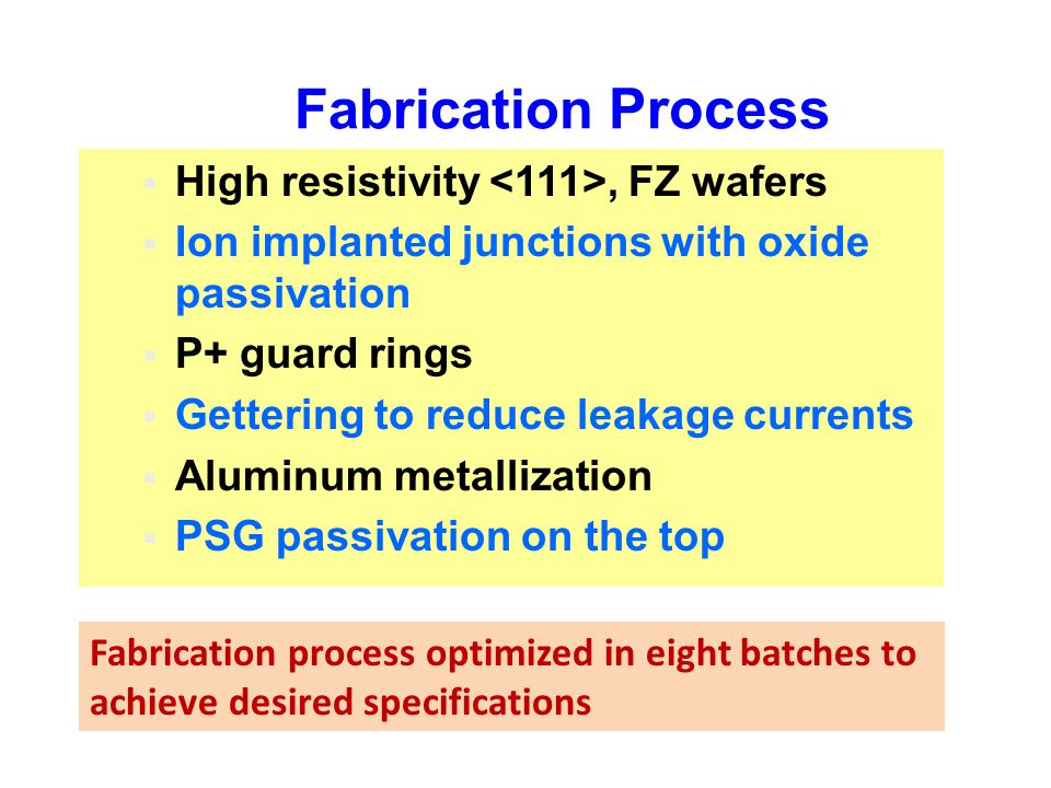 Fabrication Process High resistivity <111>, FZ wafers