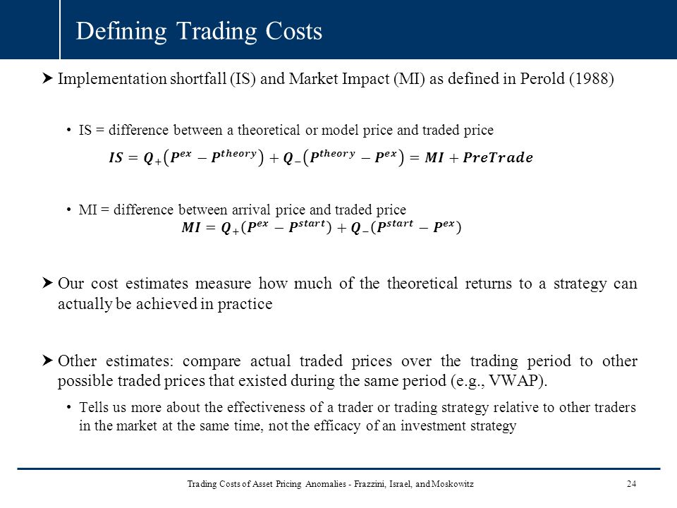 Defining Trading Costs