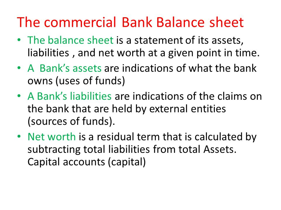 The commercial Bank Balance sheet