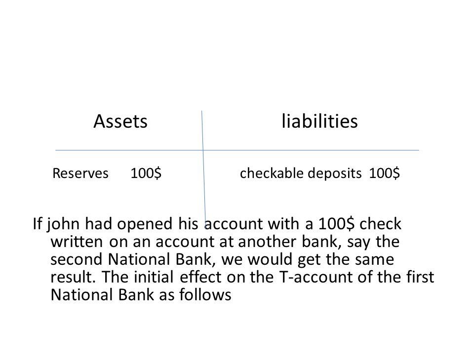 Assets liabilities Reserves 100$ checkable deposits 100$