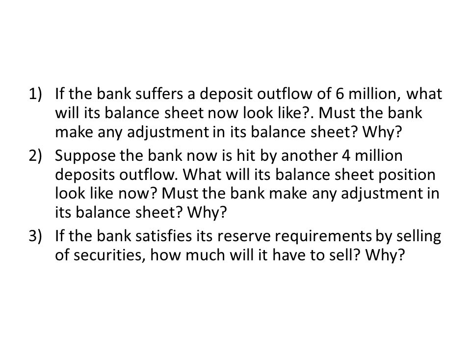 If the bank suffers a deposit outflow of 6 million, what will its balance sheet now look like . Must the bank make any adjustment in its balance sheet Why