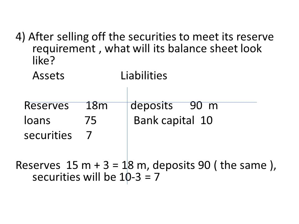 4) After selling off the securities to meet its reserve requirement , what will its balance sheet look like