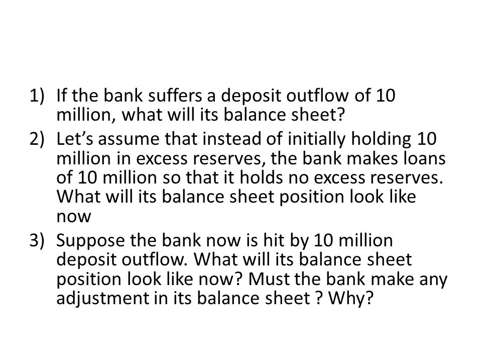 If the bank suffers a deposit outflow of 10 million, what will its balance sheet