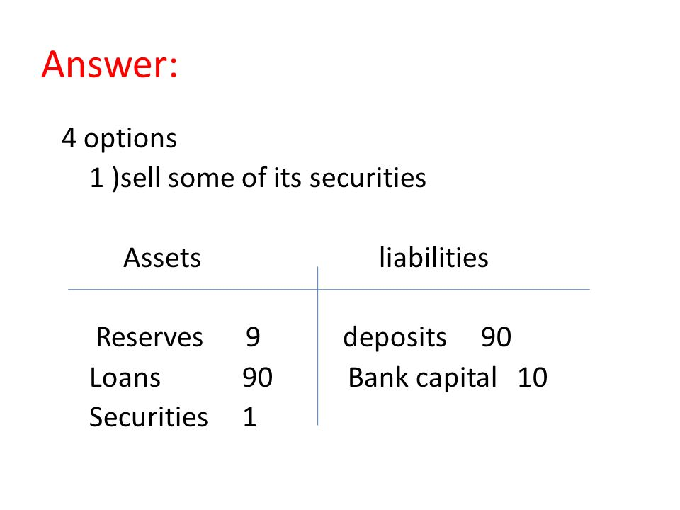 Answer: 4 options 1 )sell some of its securities Assets liabilities Reserves 9 deposits 90 Loans 90 Bank capital 10 Securities 1