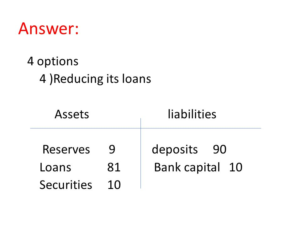 Answer: 4 options 4 )Reducing its loans Assets liabilities Reserves 9 deposits 90 Loans 81 Bank capital 10 Securities 10