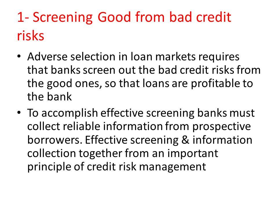 1- Screening Good from bad credit risks