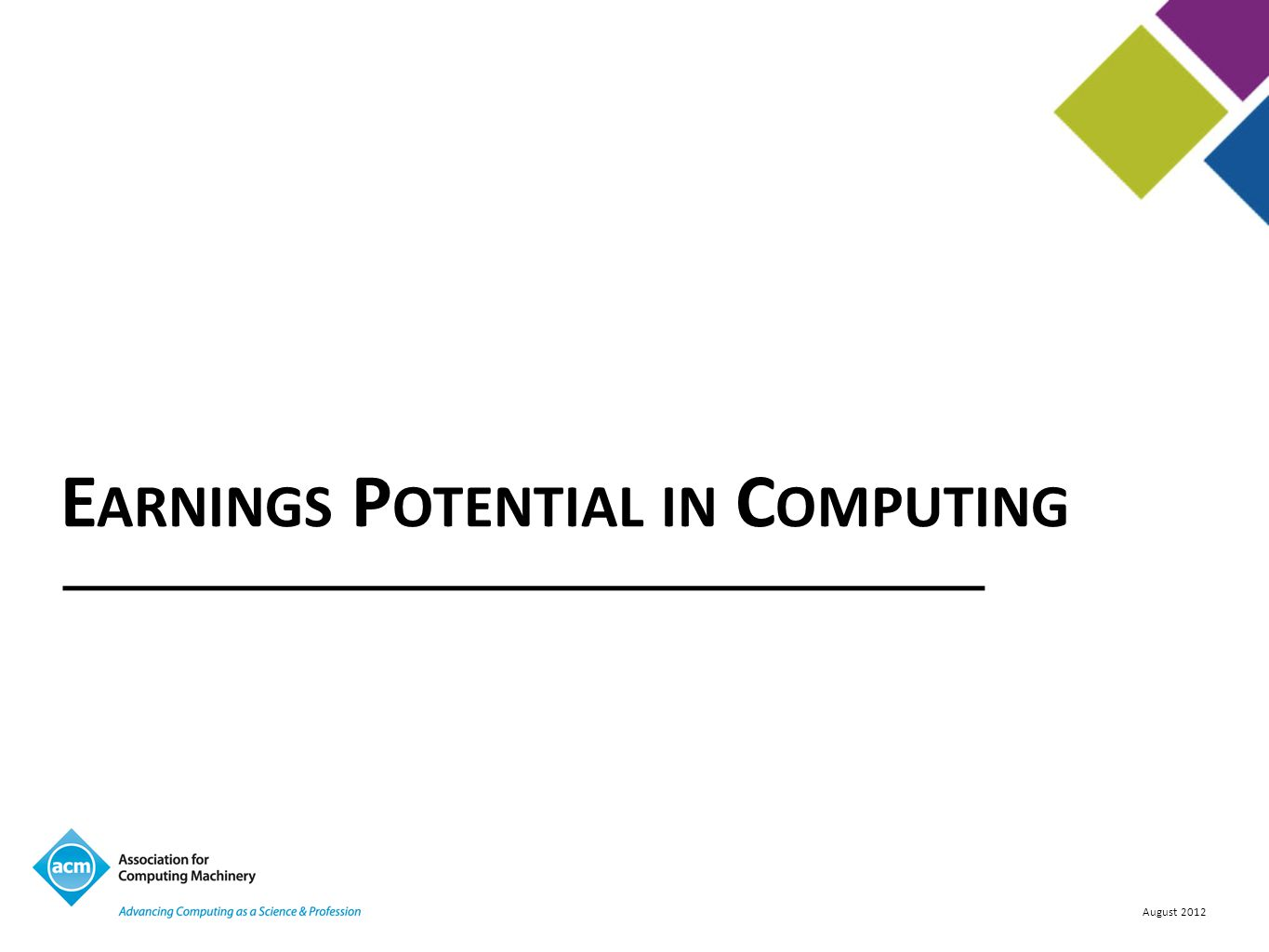 Earnings Potential in Computing