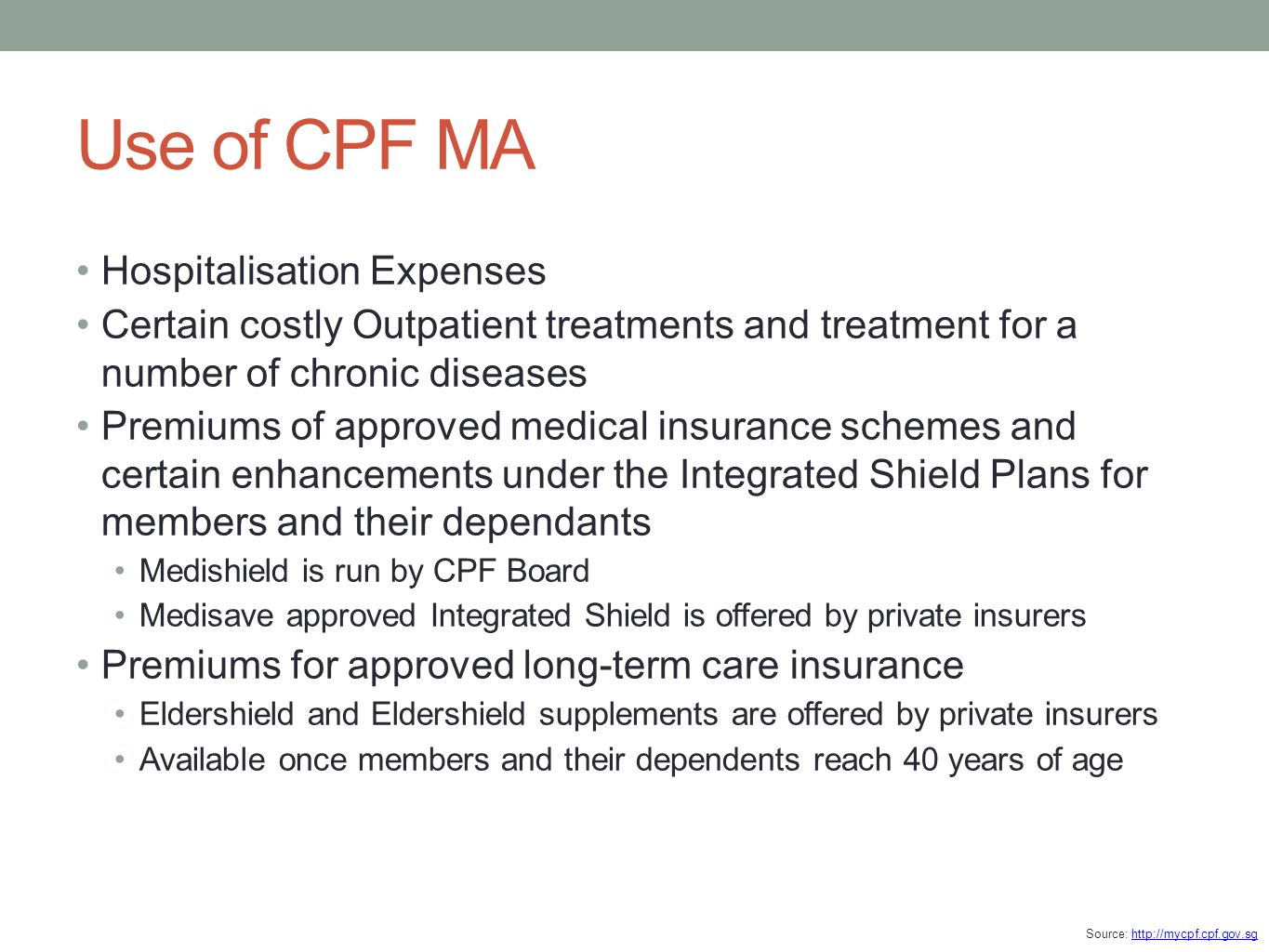 Use of CPF MA Hospitalisation Expenses