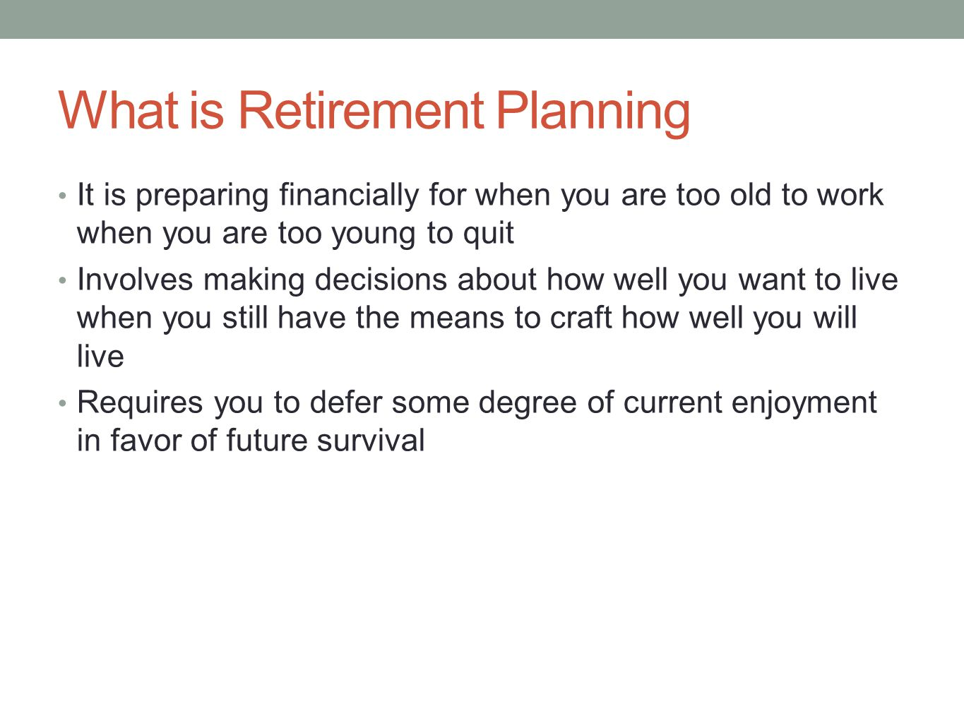 What is Retirement Planning