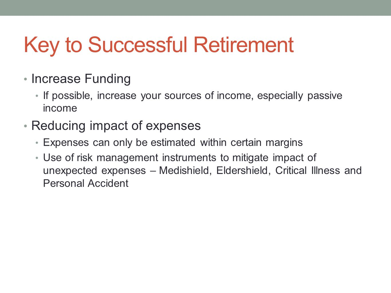 Key to Successful Retirement