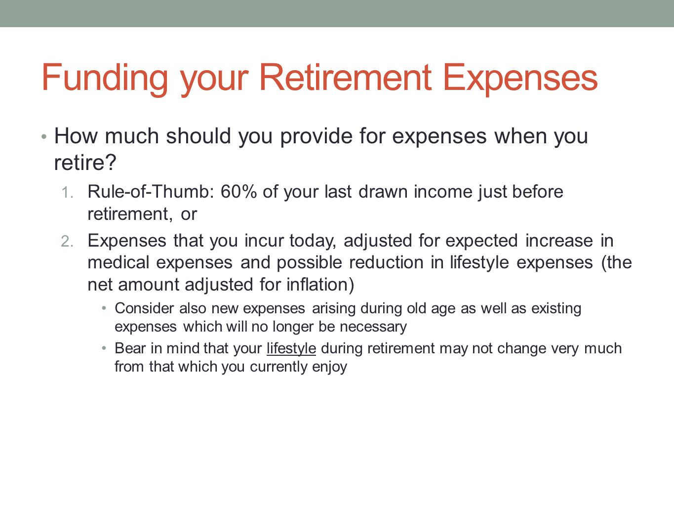 Funding your Retirement Expenses