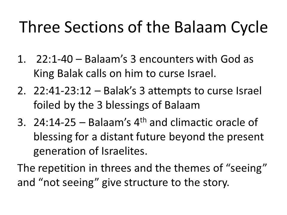 Three Sections of the Balaam Cycle