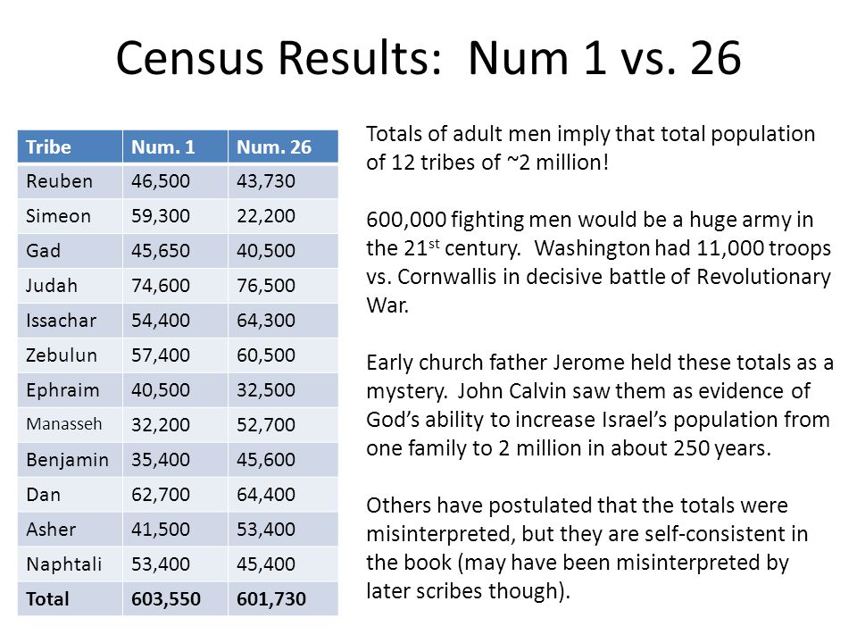Census Results: Num 1 vs. 26 Totals of adult men imply that total population of 12 tribes of ~2 million!
