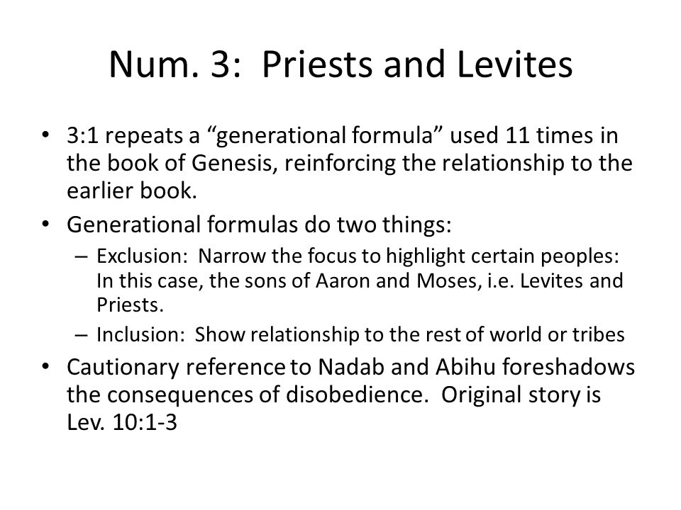 Num. 3: Priests and Levites