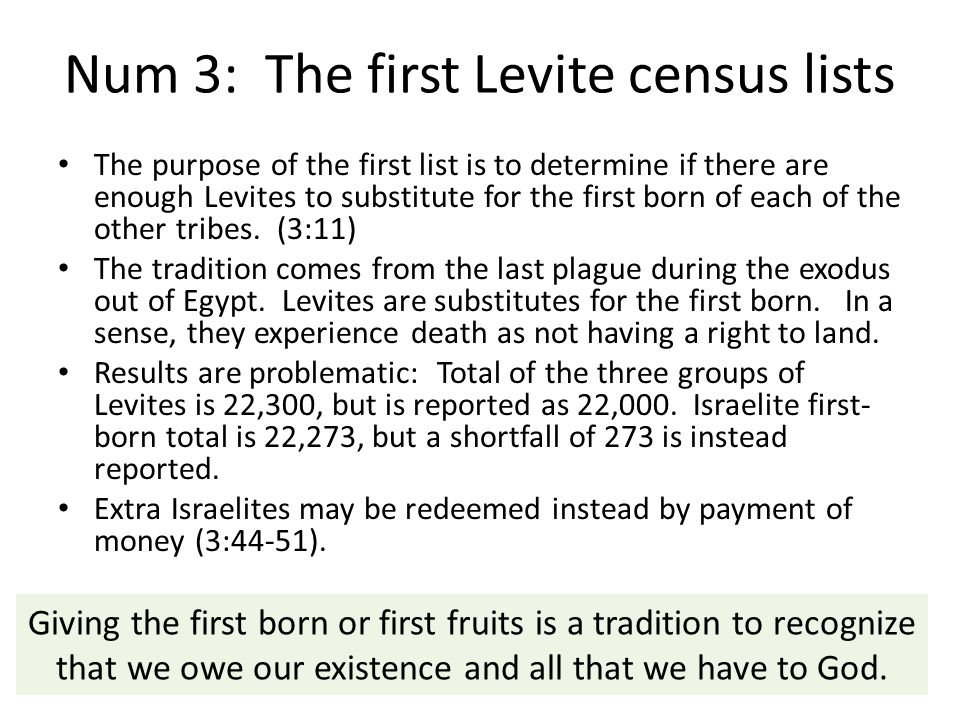Num 3: The first Levite census lists
