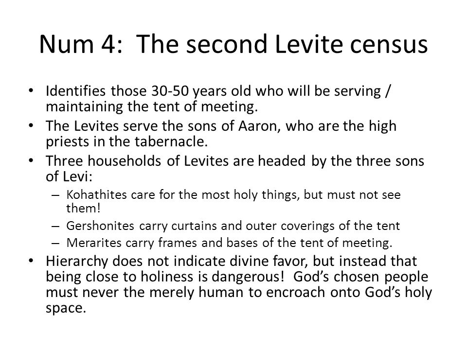 Num 4: The second Levite census