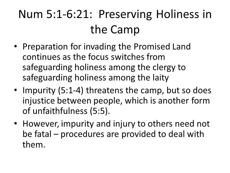 Num 5:1-6:21: Preserving Holiness in the Camp