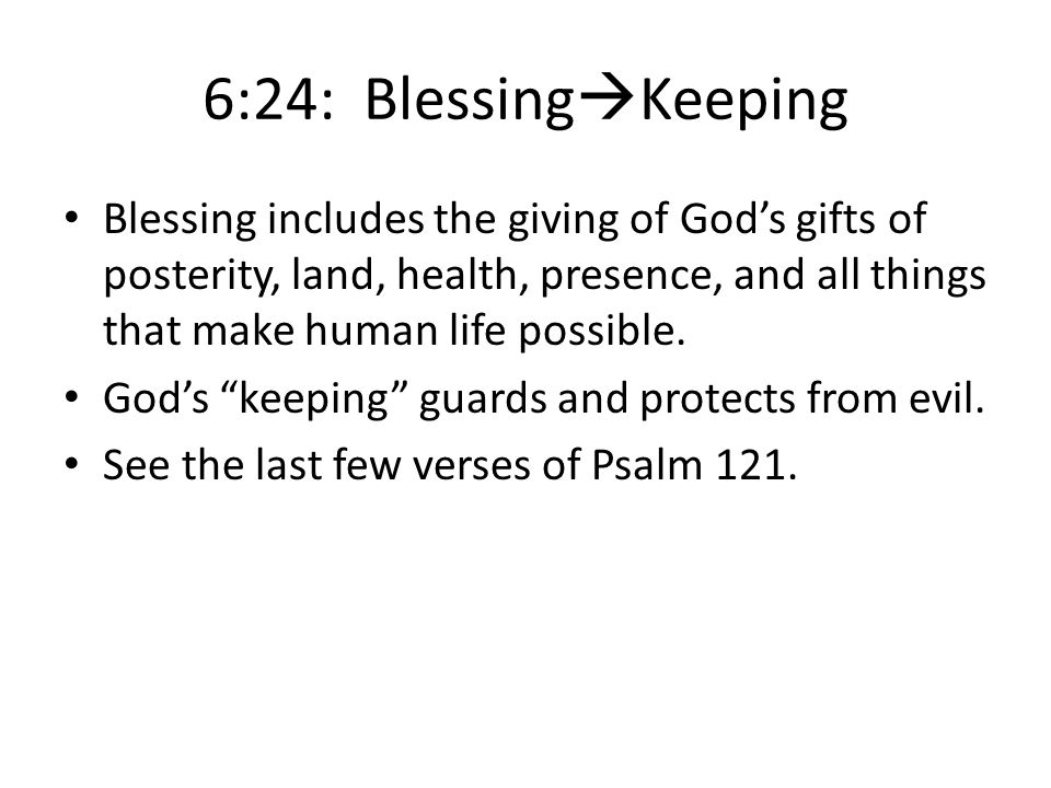 6:24: BlessingKeeping