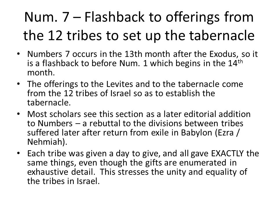 Num. 7 – Flashback to offerings from the 12 tribes to set up the tabernacle