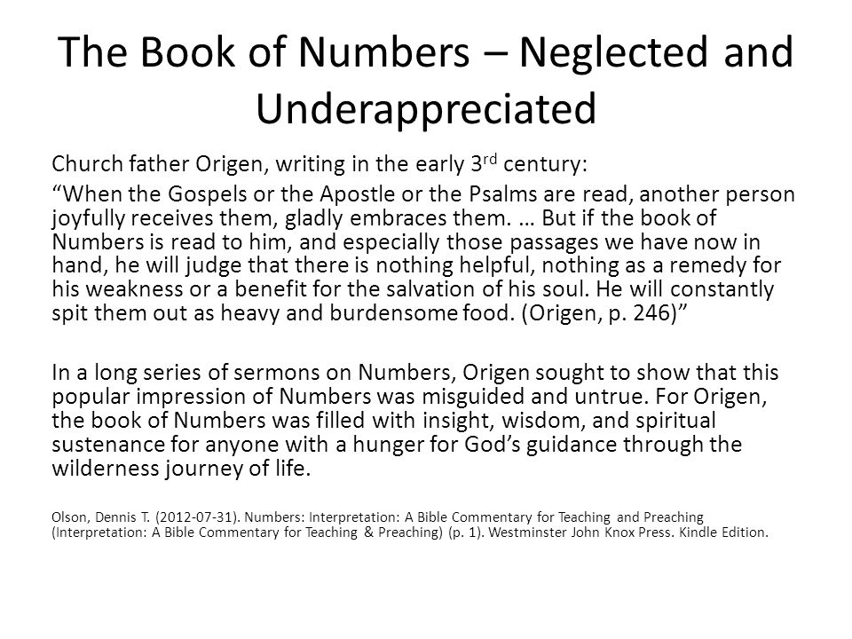 The Book of Numbers – Neglected and Underappreciated
