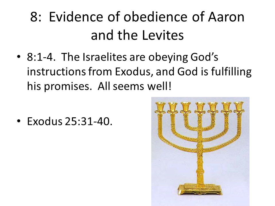 8: Evidence of obedience of Aaron and the Levites