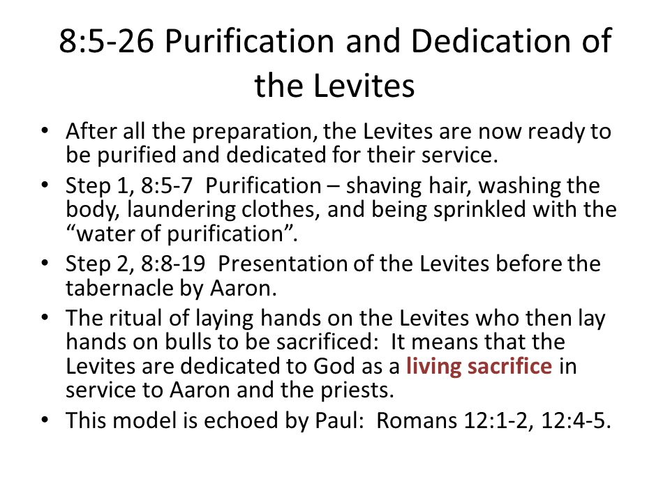 8:5-26 Purification and Dedication of the Levites
