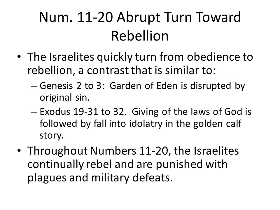 Num. 11-20 Abrupt Turn Toward Rebellion