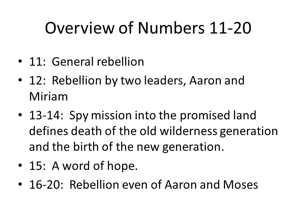 Overview of Numbers 11-20 11: General rebellion