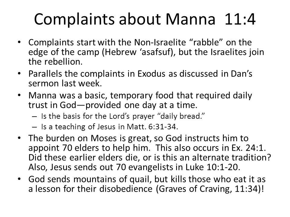 Complaints about Manna 11:4