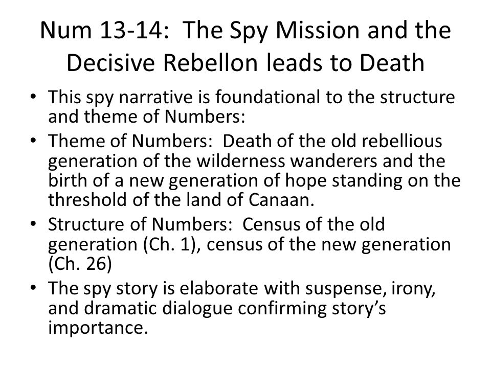 Num 13-14: The Spy Mission and the Decisive Rebellon leads to Death