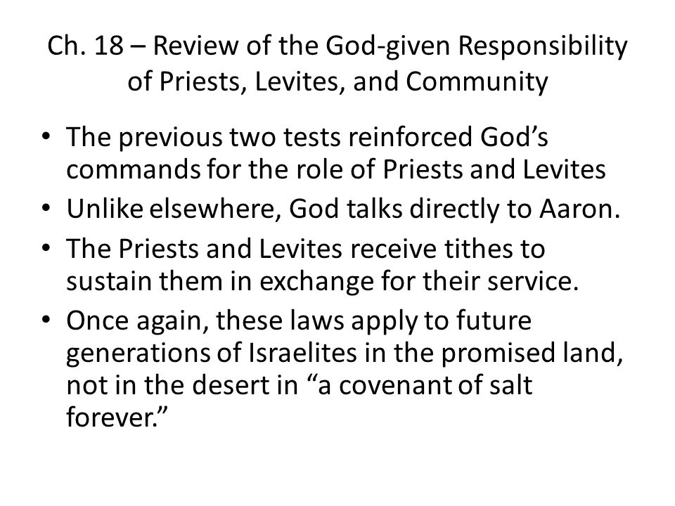 Ch. 18 – Review of the God-given Responsibility of Priests, Levites, and Community