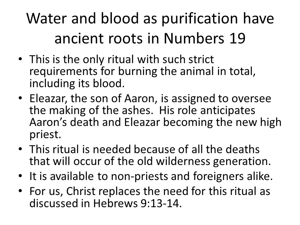 Water and blood as purification have ancient roots in Numbers 19