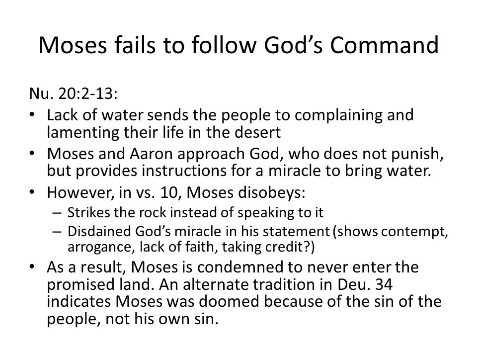 Moses fails to follow God's Command