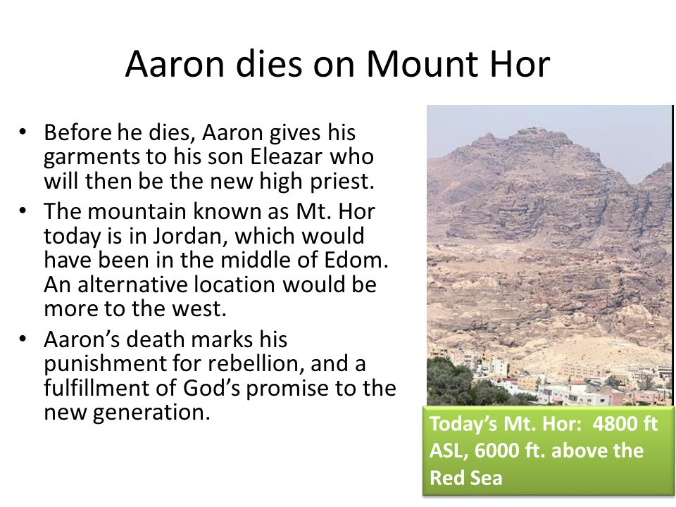 Aaron dies on Mount Hor Before he dies, Aaron gives his garments to his son Eleazar who will then be the new high priest.