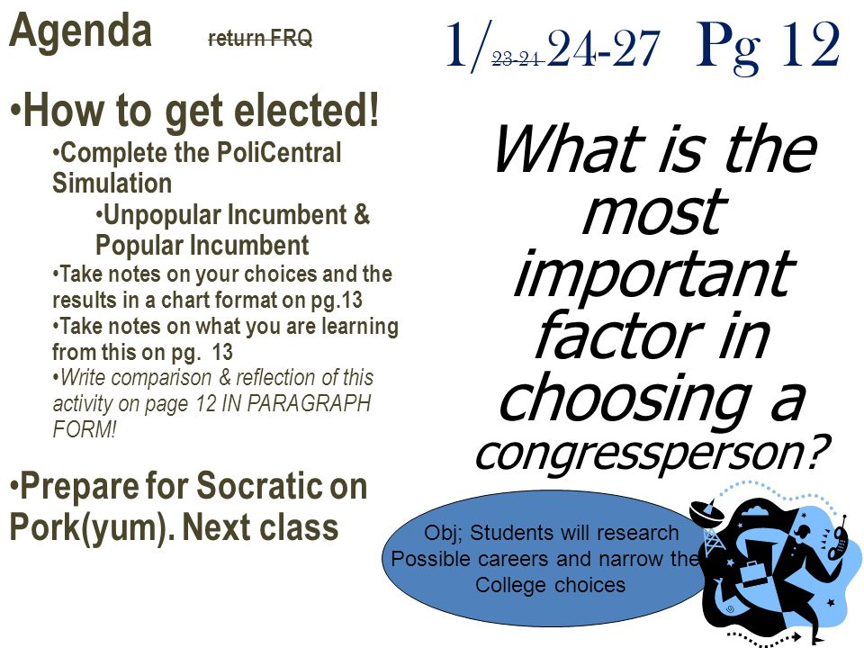 Agenda return FRQ How to get elected! Complete the PoliCentral Simulation. Unpopular Incumbent & Popular Incumbent.