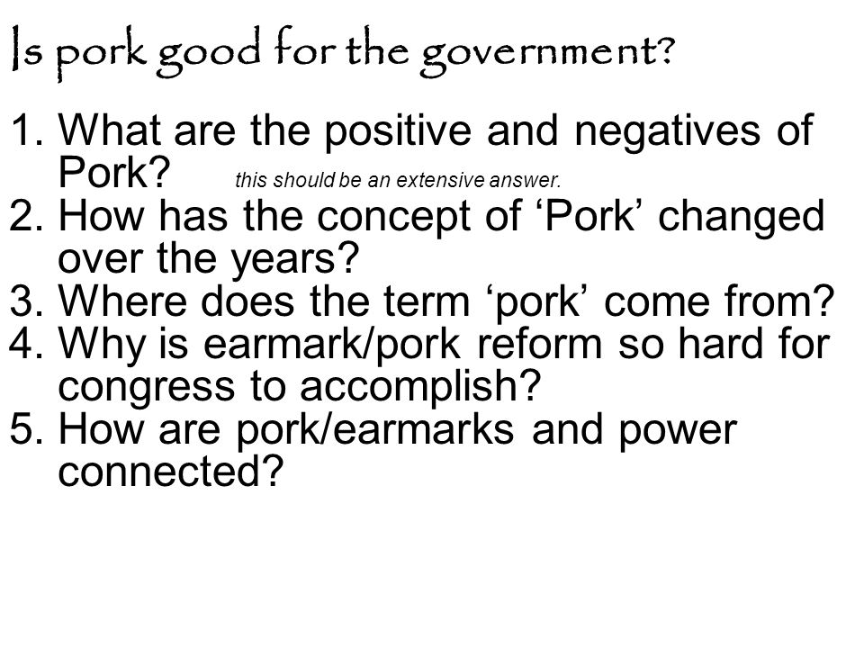 Is pork good for the government