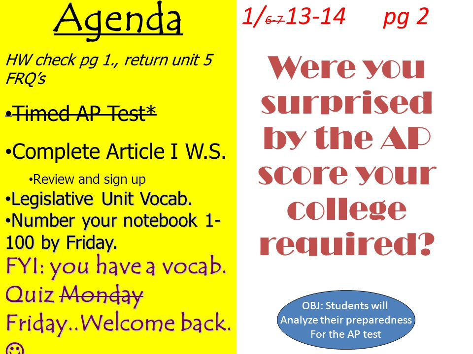 Agenda Were you surprised by the AP score your college required