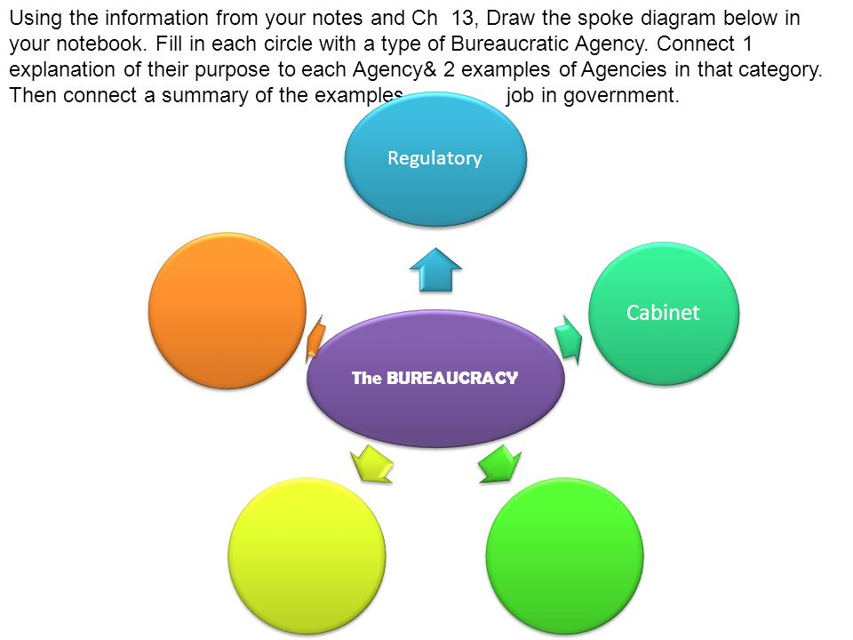 Using the information from your notes and Ch 13, Draw the spoke diagram below in your notebook. Fill in each circle with a type of Bureaucratic Agency. Connect 1 explanation of their purpose to each Agency& 2 examples of Agencies in that category. Then connect a summary of the examples job in government.