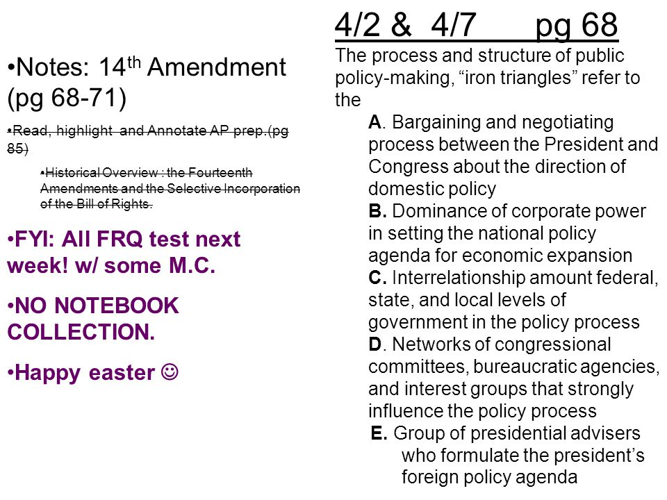 4/2 & 4/7 pg 68 Notes: 14th Amendment (pg 68-71)
