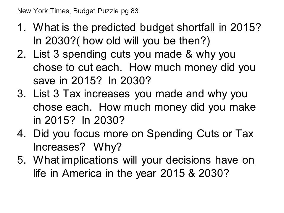 New York Times, Budget Puzzle pg 83